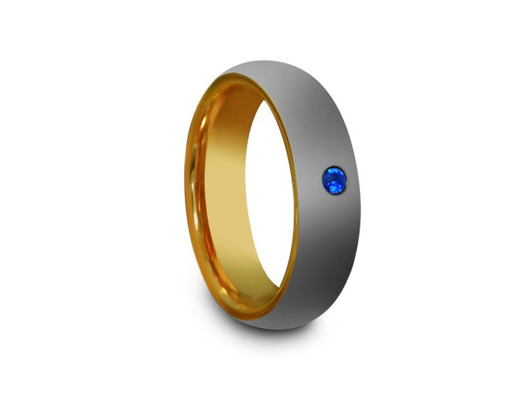 High Polish Yellow Gold Tungsten Wedding Band - Yellow Gold Plated Inlay - Engagement Ring - Two Tone - Dome Shaped - Comfort Fit  6mm - Vantani Wedding Bands