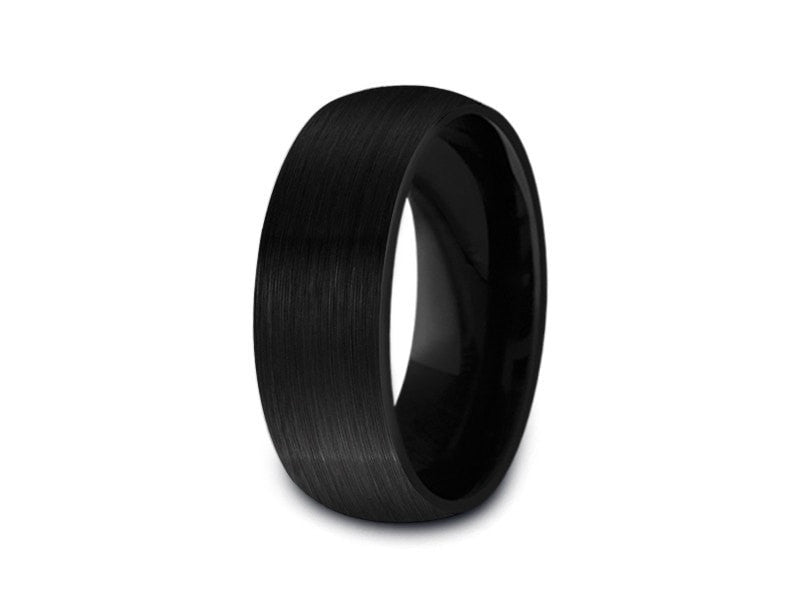 8MM BRUSHED BLACK TUNGSTEN WEDDING BAND DOME AND BLACK INTERIOR - Vantani Wedding Bands