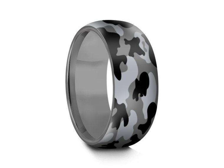 Men's  Wedding Ring  - Stainless Steel Camouflage Band - Engagement Ring - Dome Shaped - Comfort Fit  8mm - Vantani Wedding Bands