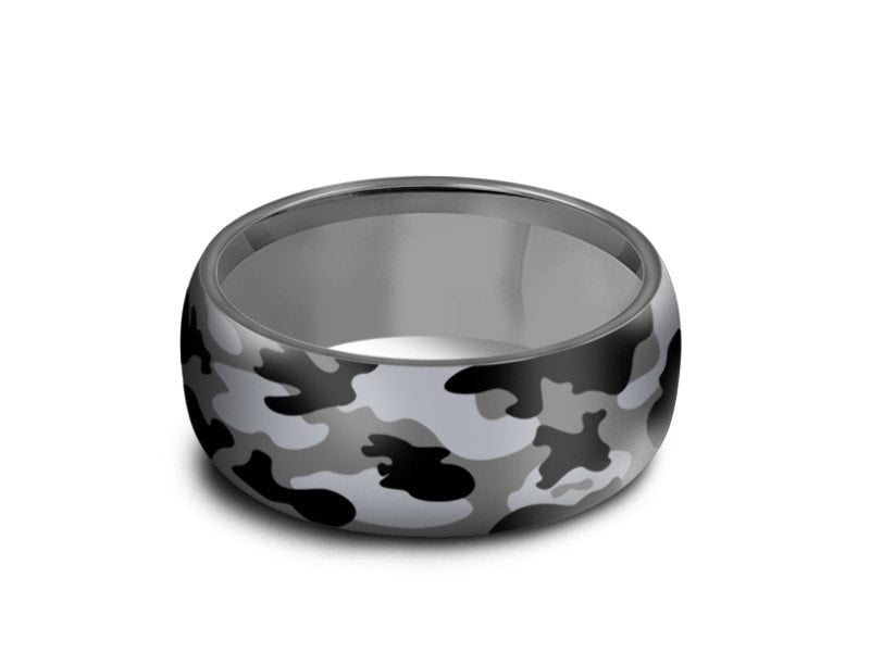 8MM CAMOUFLAGE STAINLESS STEEL WEDDING BAND DOME AND GRAY INTERIOR - Vantani Wedding Bands