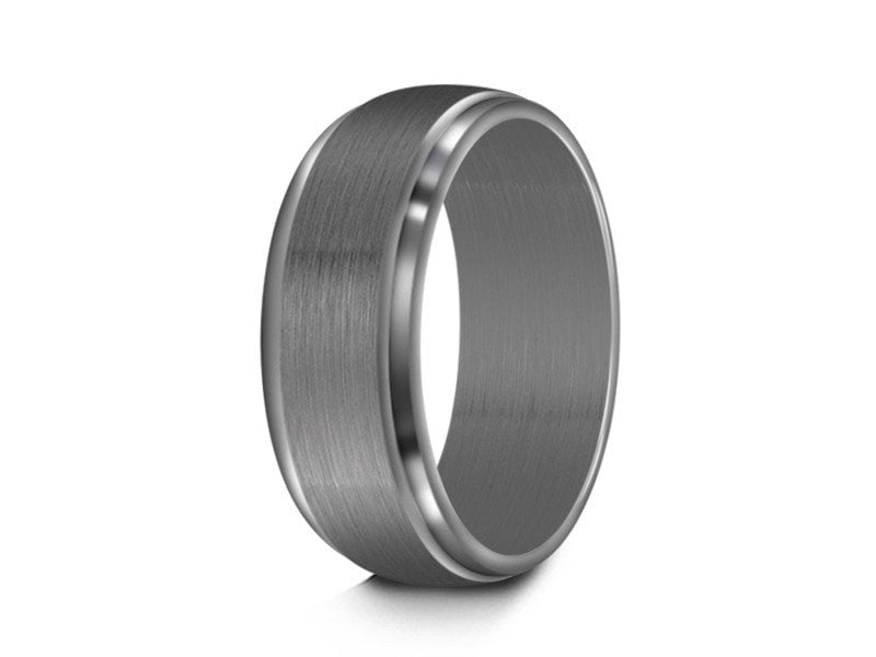 7MM BRUSHED GRAY STAINLESS STEEL WEDDING BAND RIDGED AND GRAY INTERIOR - Vantani Wedding Bands