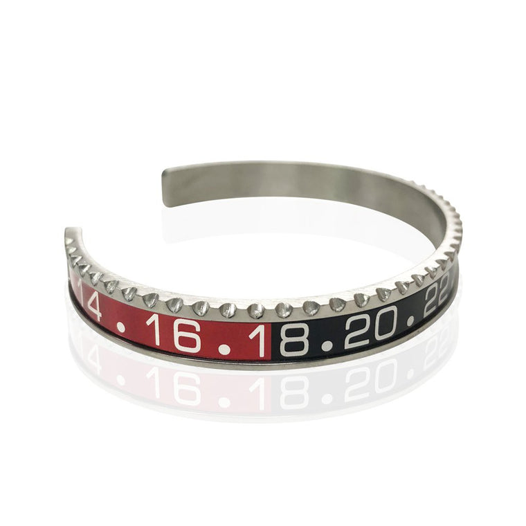 Stainless Steel Red and Black Watch Speedometer Bracelet - Vantani Wedding Bands