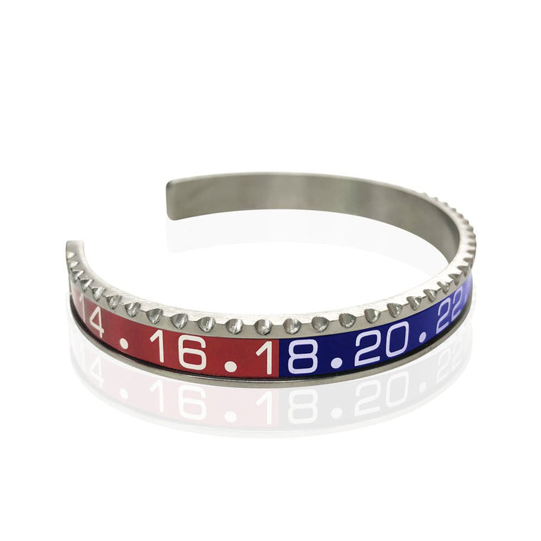 Stainless Steel Red and Blue Watch Speedometer Bracelet - Vantani Wedding Bands