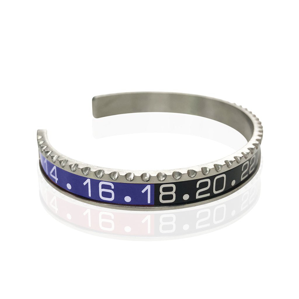 Stainless Steel Blue and Black Watch Speedometer Bracelet - Vantani Wedding Bands