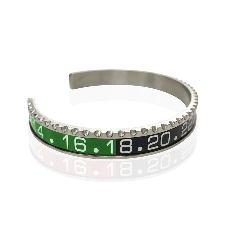 Stainless Steel Green and Black Watch Speedometer Bracelet - Vantani Wedding Bands