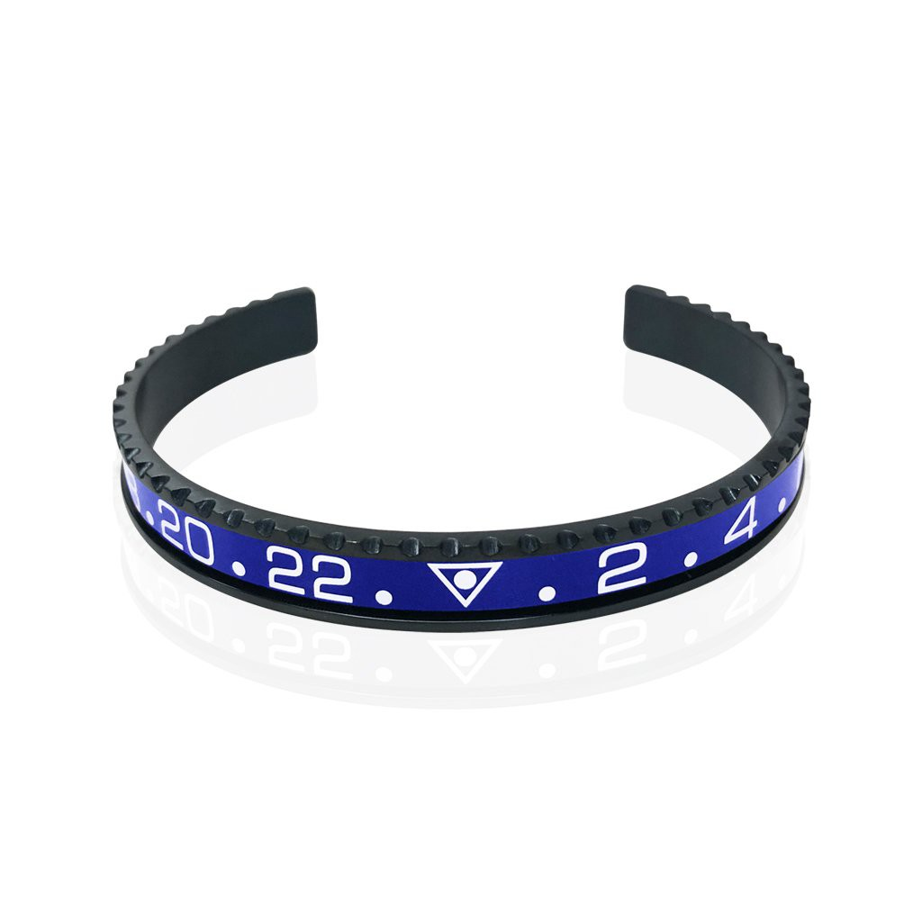 Stainless Steel Blue Watch Speedometer Bracelet - Vantani Wedding Bands