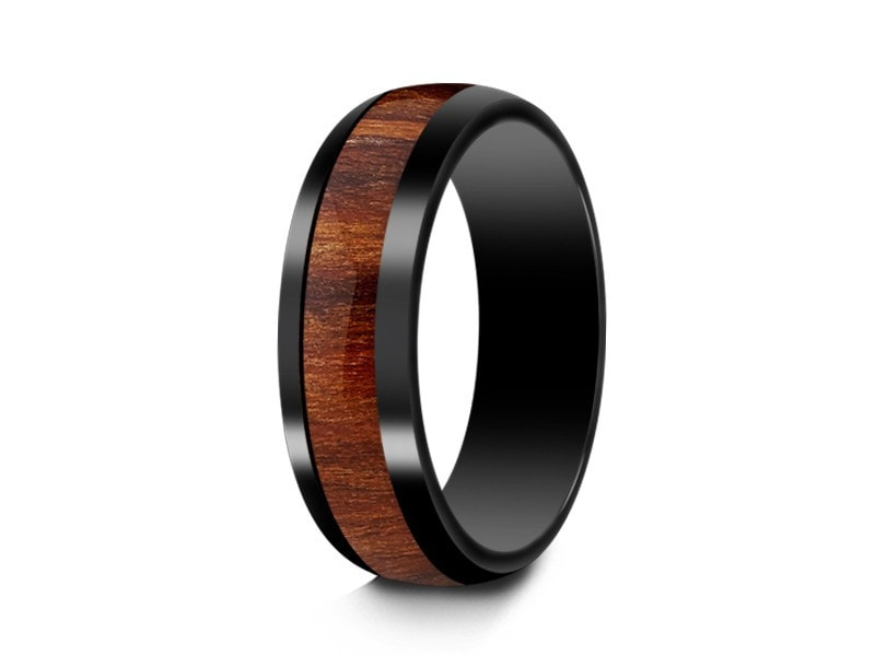6MM HAWAIIAN KOA WOOD CERAMIC WEDDING BAND DOME AND BLACK INTERIOR - Vantani Wedding Bands