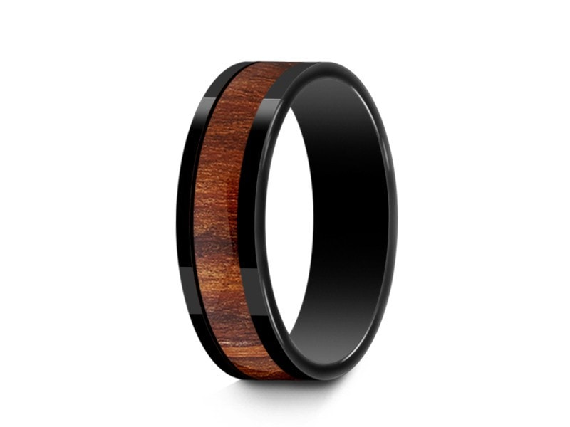 6MM HAWAIIAN KOA WOOD CERAMIC WEDDING BAND FLAT AND BLACK INTERIOR - Vantani Wedding Bands