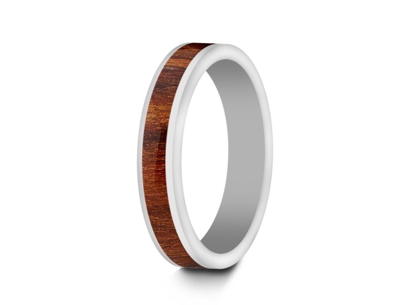 4MM HAWAIIAN KOA WOOD CERAMIC WEDDING BAND FLAT AND WHITE INTERIOR - Vantani Wedding Bands