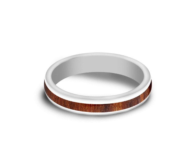 4MM HAWAIIAN KOA WOOD CERAMIC WEDDING BAND DOME AND WHITE INTERIOR - Vantani Wedding Bands
