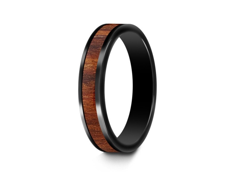4MM HAWAIIAN KOA WOOD CERAMIC WEDDING BAND FLAT AND BLACK INTERIOR - Vantani Wedding Bands