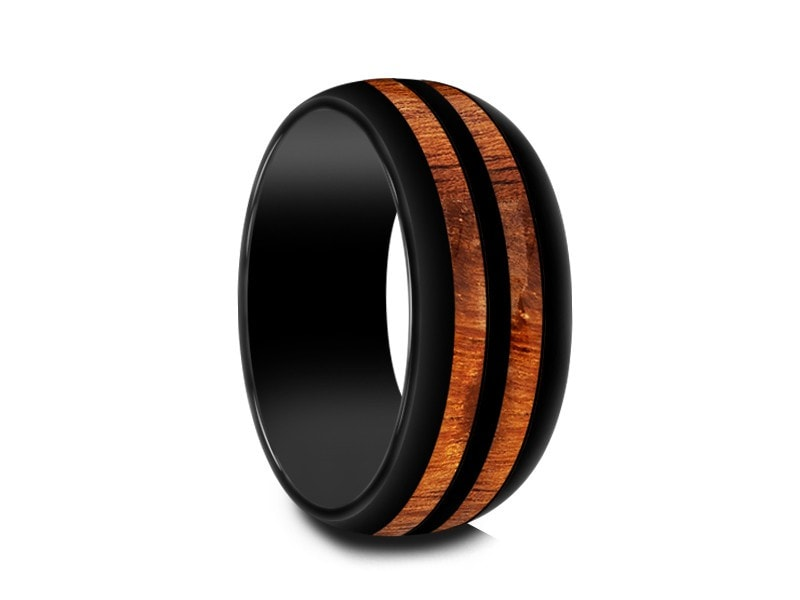 hawaiian koa wood inlay black ceramic ring ceramic wedding band 5th - Ceramic Wedding Rings