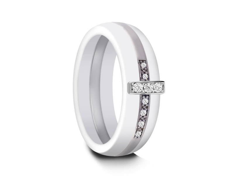 6MM WHITE CERAMIC WEDDING BAND SILVER CROSS AND WHITE INTERIOR - Vantani Wedding Bands