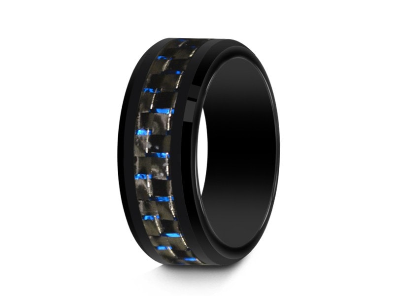 8MM BLACK CERAMIC WEDDING BAND BEVELED AND BLUE CARBON FIBER INLAY - Vantani Wedding Bands