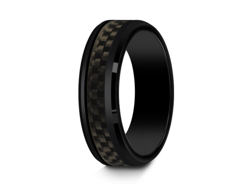 6MM BLACK CERAMIC WEDDING BAND BEVELED AND BLACK CARBON FIBER INLAY - Vantani Wedding Bands