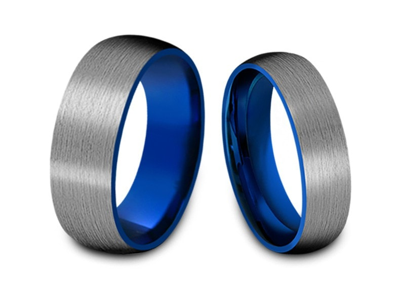 6MM/8MM BRUSHED GRAY TUNGSTEN WEDDING BAND SET DOME AND BLUE INTERIOR - Vantani Wedding Bands