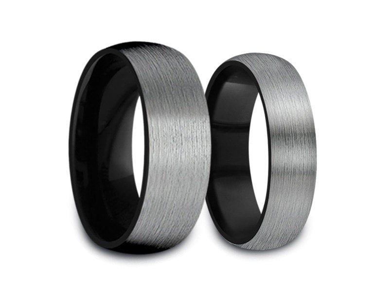 6MM/8MM BRUSHED GRAY TUNGSTEN WEDDING BAND SET DOME AND BLACK INTERIOR - Vantani Wedding Bands