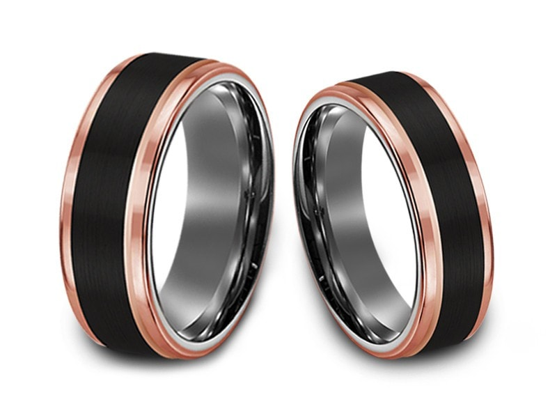 6MM/8MM BRUSHED BLACK TUNGSTEN WEDDING BAND SET ROSE GOLD EDGES AND GRAY INTERIOR - Vantani Wedding Bands
