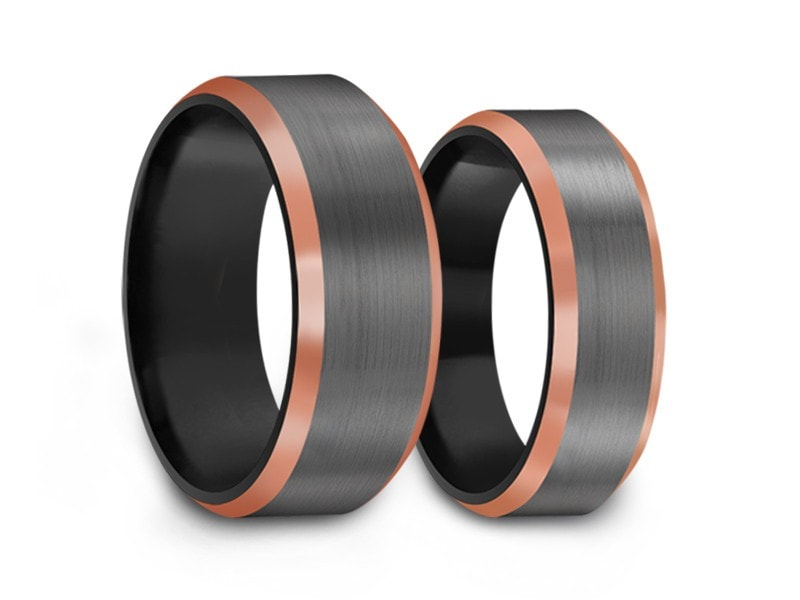 6MM/8MM BRUSHED GRAY TUNGSTEN WEDDING BAND SET ROSE GOLD EDGES AND BLACK INTERIOR - Vantani Wedding Bands