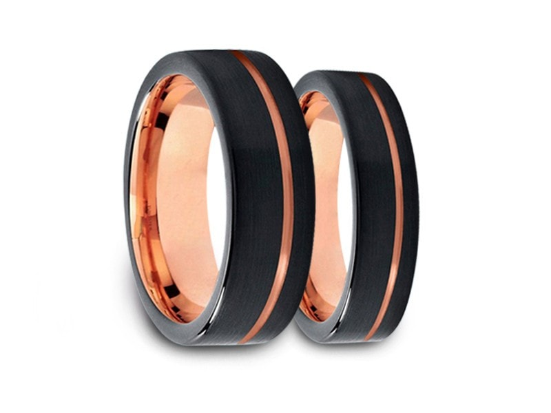 6MM/8MM BRUSHED BLACK FLAT TUNGSTEN WEDDING BAND SET ROSE GOLD CENTER AND ROSE GOLD INTERIOR - Vantani Wedding Bands