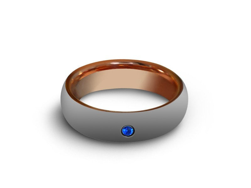 6MM HIGH POLISH GRAY TUNGSTEN WEDDING BAND CENTER BLUE CZ AND ROSE GOLD INTERIOR - Vantani Wedding Bands