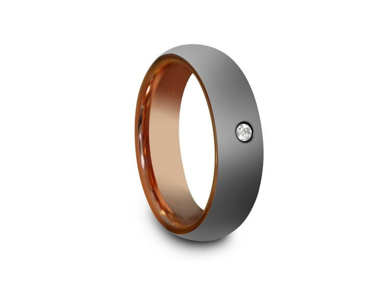 6MM HIGH POLISH GRAY TUNGSTEN WEDDING BAND CENTER CZ AND ROSE GOLD INTERIOR - Vantani Wedding Bands