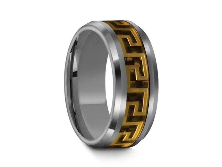 Tungsten  Wedding Band With Yellow Design - High Polish - Engagement Ring - Beveled Shaped - Comfort Fit  8mm - Vantani Wedding Bands