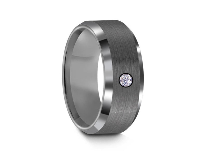 8MM BRUSHED GRAY GUNMETAL TUNGSTEN WEDDING BAND CZ CENTER AND GRAY INTERIOR - Vantani Wedding Bands