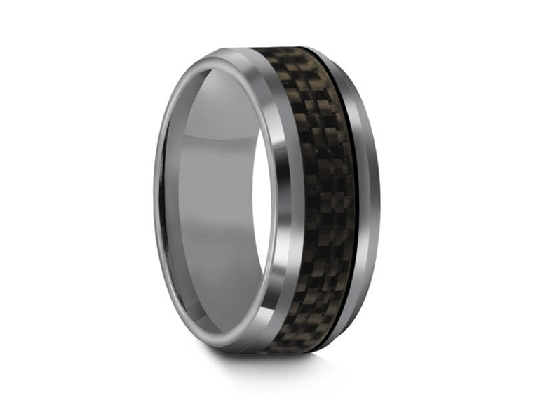 Tungsten Wedding Band With  Carbon Fiber Inlay - High Polish - Engagement Ring - Two Tone - Beveled Shaped - Comfort Fit  8mm - Vantani Wedding Bands