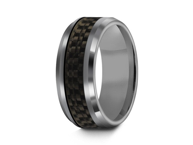 8MM BLACK CARBON FIBER TUNGSTEN WEDDING BAND BEVELED AND GRAY INTERIOR - Vantani Wedding Bands