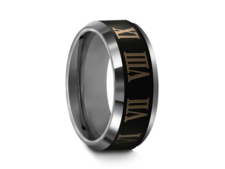 8MM ROMAN NUMERALS TUNGSTEN WEDDING BAND BEVELED AND GRAY INTERIOR - Vantani Wedding Bands