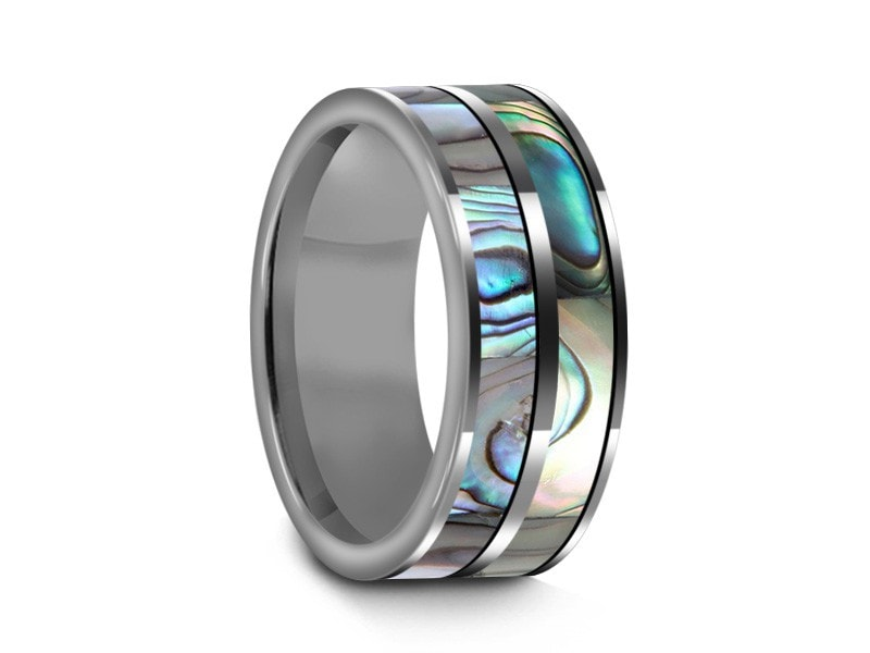 8MM ABALONE TUNGSTEN WEDDING BAND FLAT AND GRAY INTERIOR - Vantani Wedding Bands