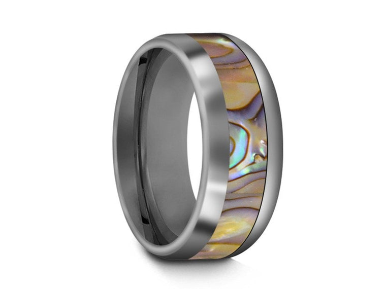 8MM ABALONE TUNGSTEN WEDDING BAND DOME AND GRAY INTERIOR - Vantani Wedding Bands