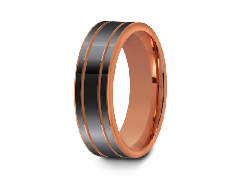 6MM HIGH POLISH GRAY TUNGSTEN WEDDING BAND FLAT AND ROSE GOLD INTERIOR - Vantani Wedding Bands