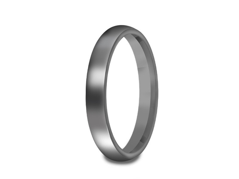 3MM HIGH POLISH GRAY TUNGSTEN WEDDING BAND DOME AND GRAY INTERIOR - Vantani Wedding Bands