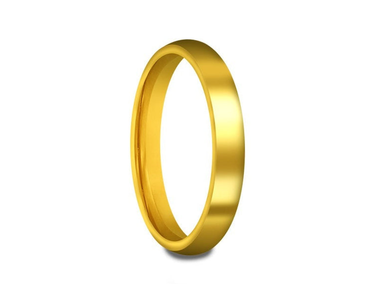 Tungsten Classic Wedding Band - High Polish - Yellow Gold Plated - Engagement Ring - Dome Shaped - Comfort Fit  3mm - Vantani Wedding Bands