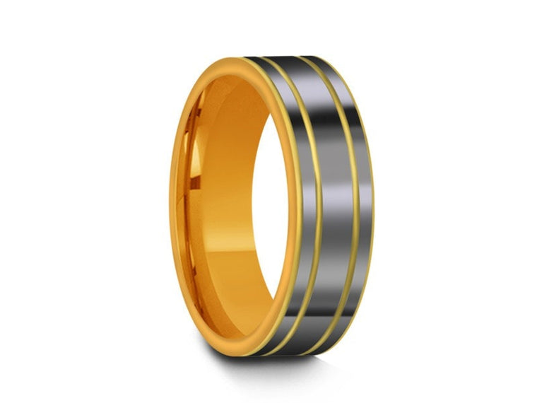 High Polish Yellow Tungsten Wedding Band -  Yellow Gold Plated Inlay - Engagement Ring - Two Tone - Flat Shaped - Comfort Fit  6mm - Vantani Wedding Bands