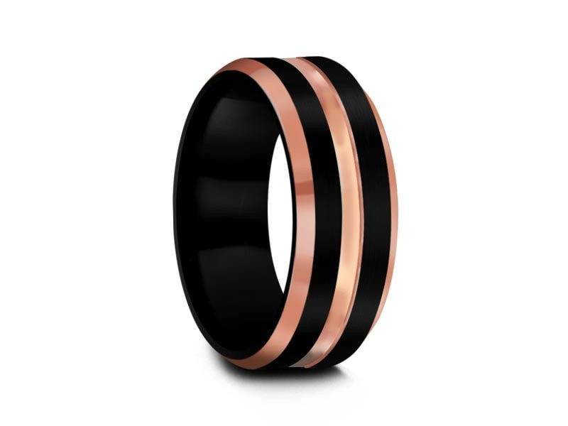 8MM BLACK TUNGSTEN WEDDING BAND ROSE GOLD CENTER EDGES AND BLACK INTERIOR - Vantani Wedding Bands