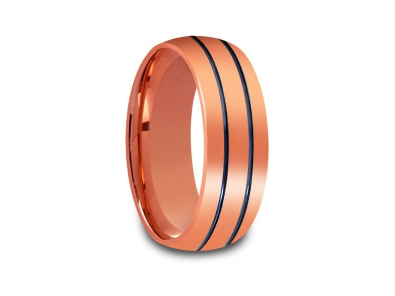 8MM HIGH POLISH ROSE GOLD TUNGSTEN WEDDING BAND BLUE CENTER AND ROSE GOLD INTERIOR - Vantani Wedding Bands