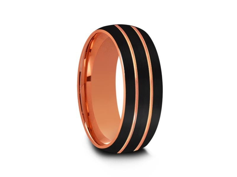 8MM BRUSHED BLACK TUNGSTEN WEDDING BAND ROSE GOLD LINES AND ROSE GOLD INTERIOR - Vantani Wedding Bands