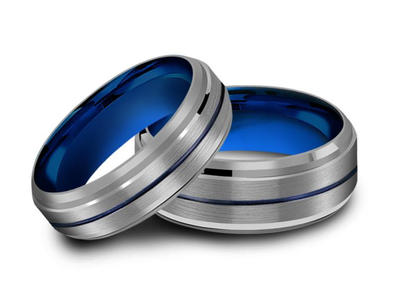 6MM/8MM GRAY TUNGSTEN WEDDING BAND SET BLUE CENTER AND BLUE INTERIOR - Vantani Wedding Bands