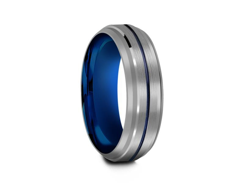 6MM GRAY TUNGSTEN WEDDING BAND BLUE CENTER AND BLUE INTERIOR - Vantani Wedding Bands
