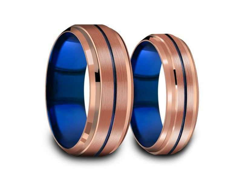 6MM/8MM ROSE GOLD TUNGSTEN WEDDING BAND SET BLUE CENTER AND BLUE INTERIOR - Vantani Wedding Bands