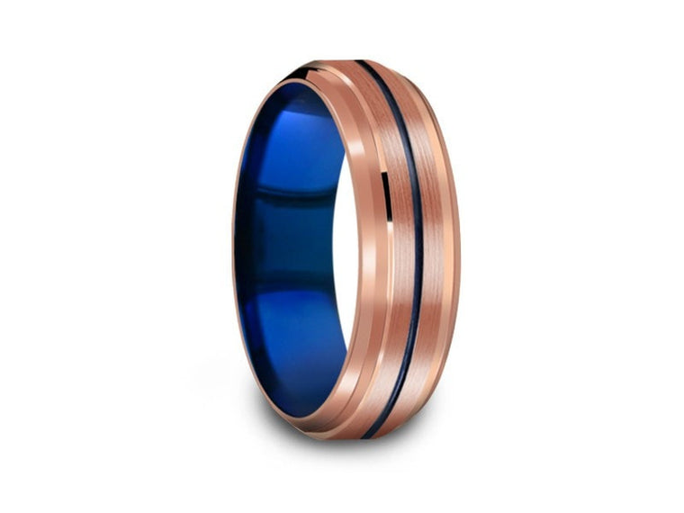 6MM BRUSHED ROSE GOLD TUNGSTEN WEDDING BAND BLUE CENTER AND BLUE INTERIOR - Vantani Wedding Bands
