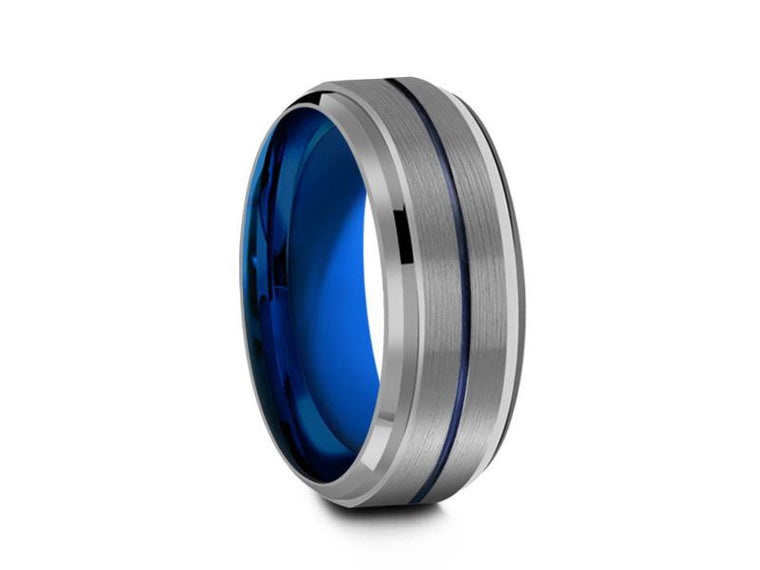 8MM GRAY  TUNGSTEN WEDDING BAND BLUE CENTER AND BLUE INTERIOR - Vantani Wedding Bands
