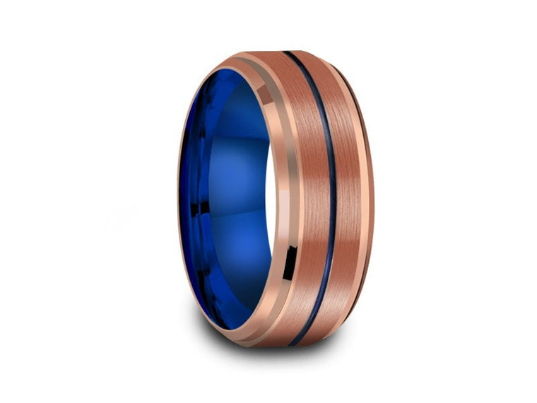 8MM BRUSHED ROSE GOLD TUNGSTEN WEDDING BAND BLUE CENTER AND BLUE INTERIOR - Vantani Wedding Bands