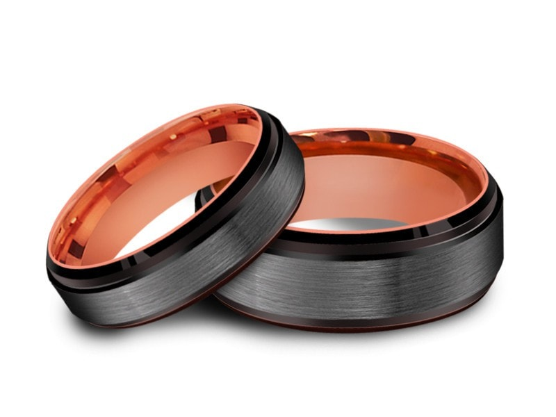 6MM/8MM BRUSHED GRAY TUNGSTEN WEDDING BAND SET BLACK EDGES AND ROSE GOLD INTERIOR - Vantani Wedding Bands