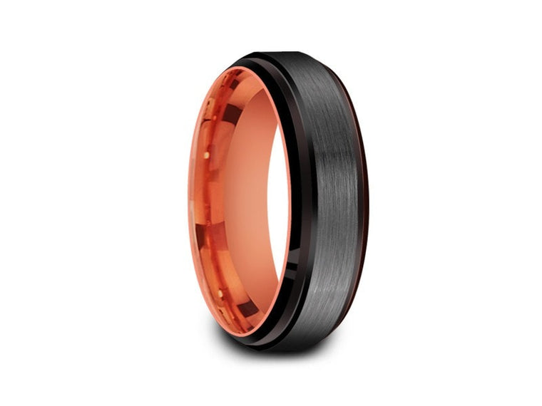 6MM BRUSHED GRAY GUNMETAL TUNGSTEN WEDDING BAND BLACK EDGES AND ROSE GOLD INTERIOR - Vantani Wedding Bands
