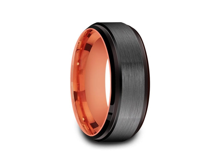 Brushed Tungsten Wedding Band  - Rose Gold Plated Inlay - Gray Gunmetal - Engagement Ring - Ridged Edges - Comfort Fit  8mm - Vantani Wedding Bands