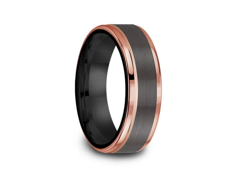 6MM BRUSHED GRAY TUNGSTEN WEDDING BAND ROSE GOLD EDGES AND BLACK INTERIOR - Vantani Wedding Bands